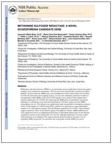 Imagen del artículo Methionine sulfoxide reductase: a novel schizophrenia candidate gene.