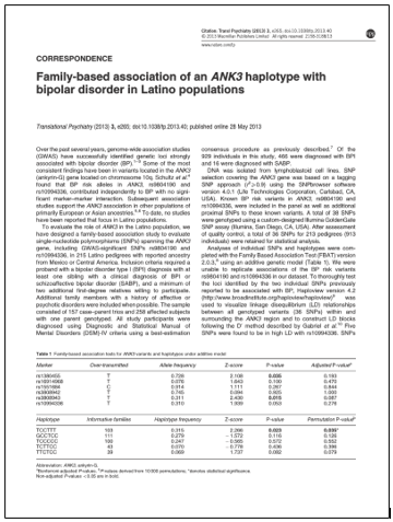 Family-based association of ANK3 haplotype with bipolar disorder in Latino populations.