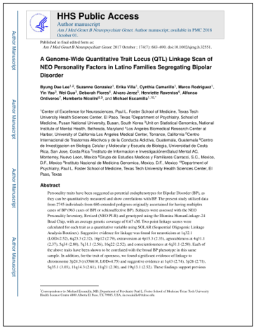 A genoma-wide quantitative trait locus (QTL) linkage scan of NEO personality factors in Latino families segregating bipolar disorder.