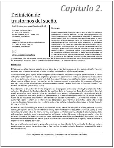 PORTADA DEL CAPÍTULO DEFINICIÓN DE TRASTORNOS DEL SUEÑO