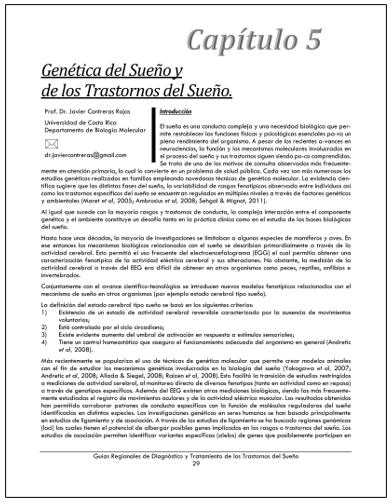 PORTADA DEL CAPÍTULO GENÉTICA DEL SUEÑO Y DE LOS TRASTORNOS DEL SUEÑO