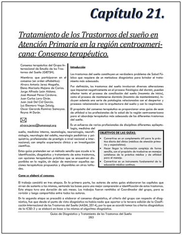 Portada del capítulo TRATAMIENTO DE LOS TRASTORNOS DEL SUEÑO EN ATENCIÓN PRIMARIA EN LA REGIÓN CENTROAMERICANA: CONSENSO TERAPÉUTICO.