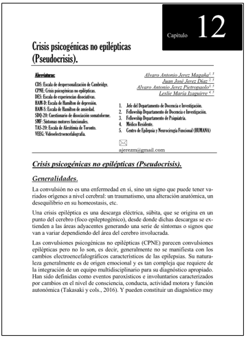 Portada del capítulo CRISIS PSICOGÉNICAS NO EPILÉPTICAS (PSEUDOCRISIS)