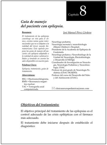PORTADA DEL CAPÍTULO GUÍA DE MANEJO DEL PACIENTE CON EPILEPSIA