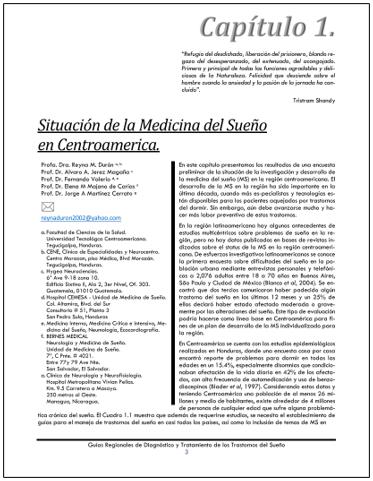 PORTADA DEL CAPÍTULO SITUACION DE LA MEDICINA DEL SUEÑO EN CENTROAMÉRICA.